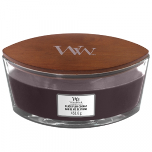 WoodWick Geurkaars Black Plum Cognac HearthWick Ellipse