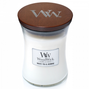 WoodWick Geurkaars White Tea & Jasmine Medium